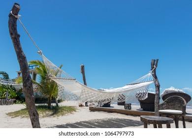 "White Hammock ""Rede"" on the Beach Jericoacoara Brazil"