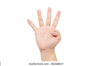 White hand holds four-stroke four numbers symbol hand.