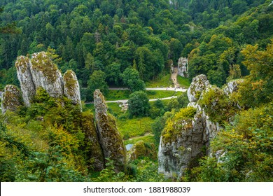 The White Hand rock (Skala Biala Reka) and Cracow's Gate (Brama Krakowska- famous rock formations in Ojcowski National Park, Poland - Shutterstock ID 1881988039