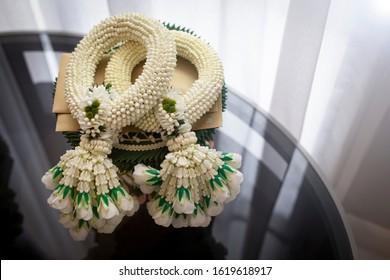 White handmade Jasmine garland for mother's day. Thai traditional.