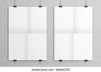 White hanging 3D illustration folded paper poster mockup.
