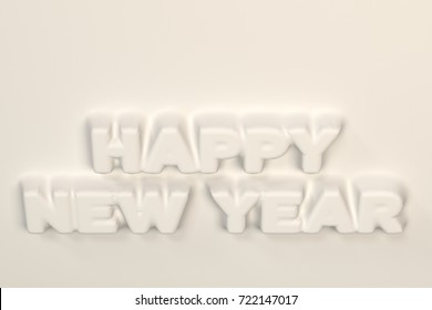 White Happy New Year words bas-relief. New year sign. 3D rendering illustration