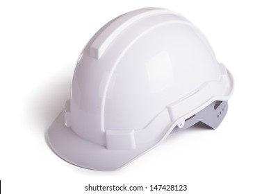 White Hard Hat with Clipping Path