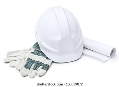 White hard hat, gloves, druft, isolated on white