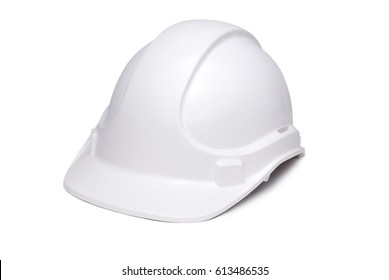 White hard hat isolated on white with soft shadow under brim and side, turned 3/4 face to camera.
