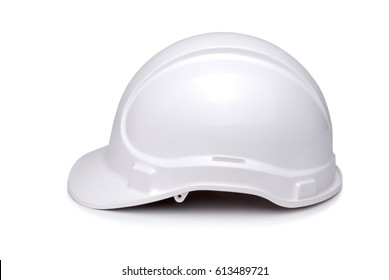 White hardhat viewed from side and isolate on white.