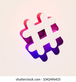 White Hashtag Icon. 3D Illustration of White Hash, Hash Mark, Hashtag, Tag, Topic, Trending Icons With Pink and Blue Gradient Shadows.