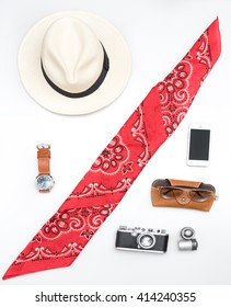 white hat  on white background with accessories