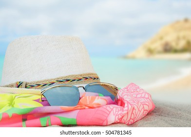 White hat on sea backround, Concept of summer traveling