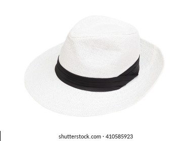 White hat woman  isolated on white blackground.