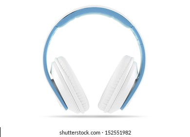 White headphone with blue trim