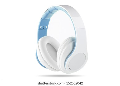 White headphone with white center and blue trim