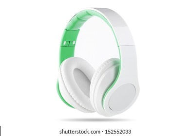 White headphone with white center and green trim