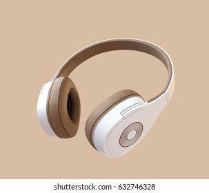White headphone isolated on light brown background. 3D rendering image.