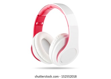 White headphone with red center