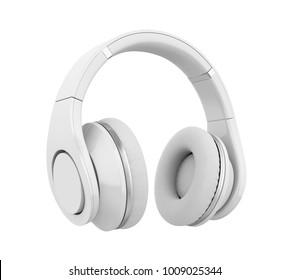 White Headphones Isolated. 3D rendering