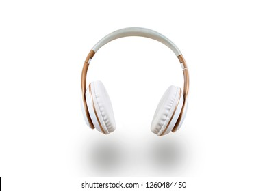 White headphones isolated on a white background