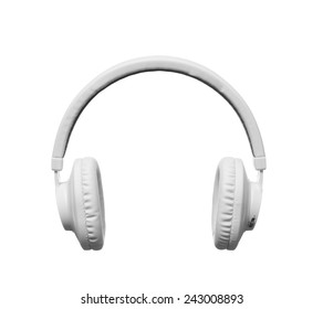 White headphones on white background, isolated