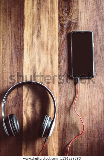 White Headset Mobile Phone Sunset Top Backgrounds Textures Stock Image 1136529893