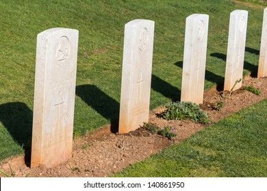 White headstones at the world war 2 cemetery in Greece