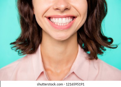 White healthy strong teeth concept. Close-up cropped fresh clean shiny perfect teeth cheerful girl isolated over turquoise teal pastel background
