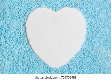 white heart blue background