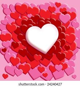 White Heart Scattered Heart Background