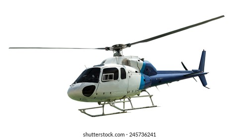White helicopter with working propeller, isolated on white