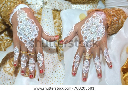 White Henna On Hands Indonesian Wedding Stock Photo Edit Now