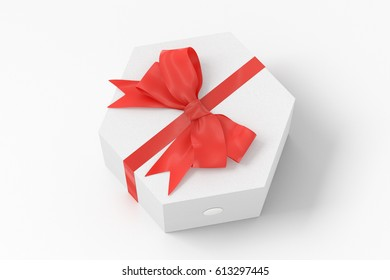 White hexagon gift box with red bow isolated on white background with clipping path. 3d render