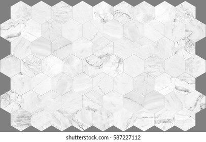White hexagon marble tile wall for background , seamless marble wall pattern , for Interiors design. High resolution