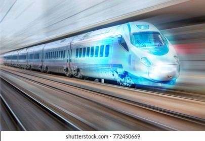 White high speed train runs on rail tracks . Train in motion.