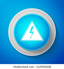 White High voltage icon isolated on blue background. Danger symbol. Arrow in triangle. Warning icon. Circle blue button with white line
