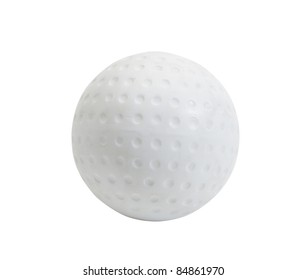 White Hockey ball on white background