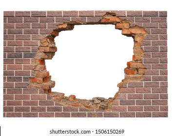 White hole in brick wall.