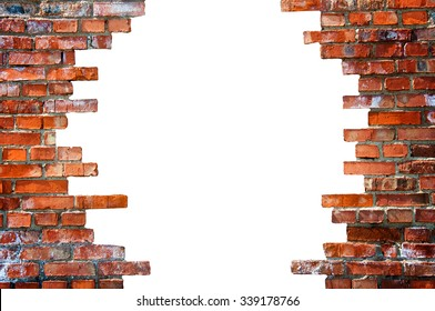 White hole in the brick wall. Stock illustration.