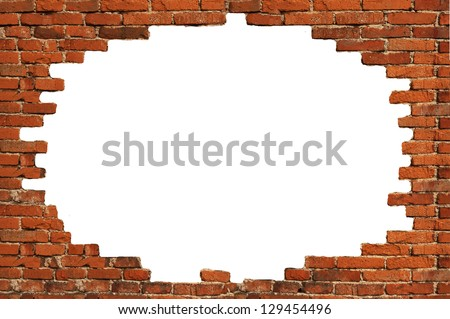 White Hole Old Wall Brick Frame Stock Photo (Edit Now) 129454496 ...