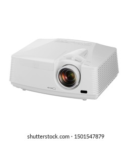 White Home Cinema Projector Isolated on White Background. Side View of Black Cinema and Video 4k Multimedia Home Theater Projector for TV Movies and Mobile Gaming