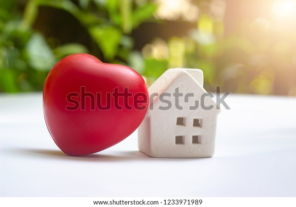White Home House Small Model Beside Stock Photo Edit Now 1233971989