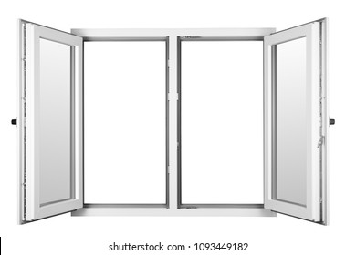 White home window, with no background
