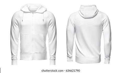 white hoodie, sweatshirt mockup, on white background