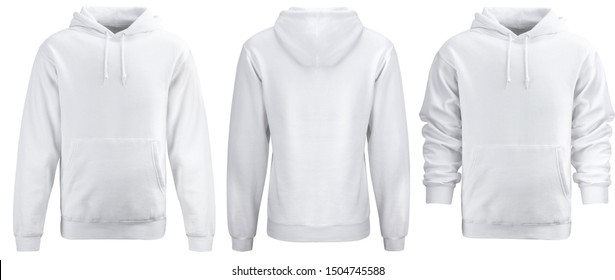 White hoodie template. Hoodie sweatshirt long sleeve with clipping path, hoody for design mockup for print, isolated on white background.