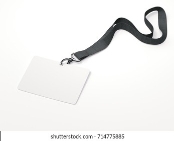 White horizontal badge with ribbon on a white background. 3d rendering