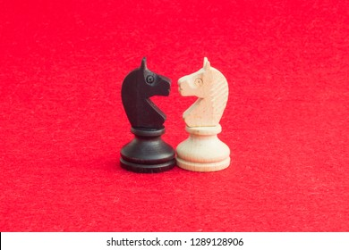 White horse and black horse, traditionally confronted in chess game, have reconciled. Image in isolated red background.