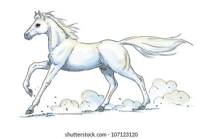 White Horse Gallop Illustration