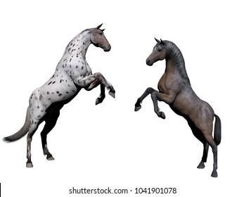 White horse grey on white background - 3d rendering