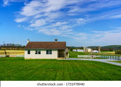White Horse, PA / USA - May 3, 2020: A small one-room schoolhouse used by the Amish community to educate their youth in rural Lancaster County.