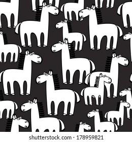 white horse seamless pattern