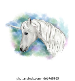 The white horse is a unicorn. Imitation of watercolors, illustration, image for print, poster, textiles, clothing design. Template.