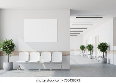 White hospital corridor with doors and white chairs for patients waiting for the doctor visit. A poster. 3d rendering mock up